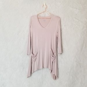 Logo by Lori Goldstein Pink V-Neck Tunic